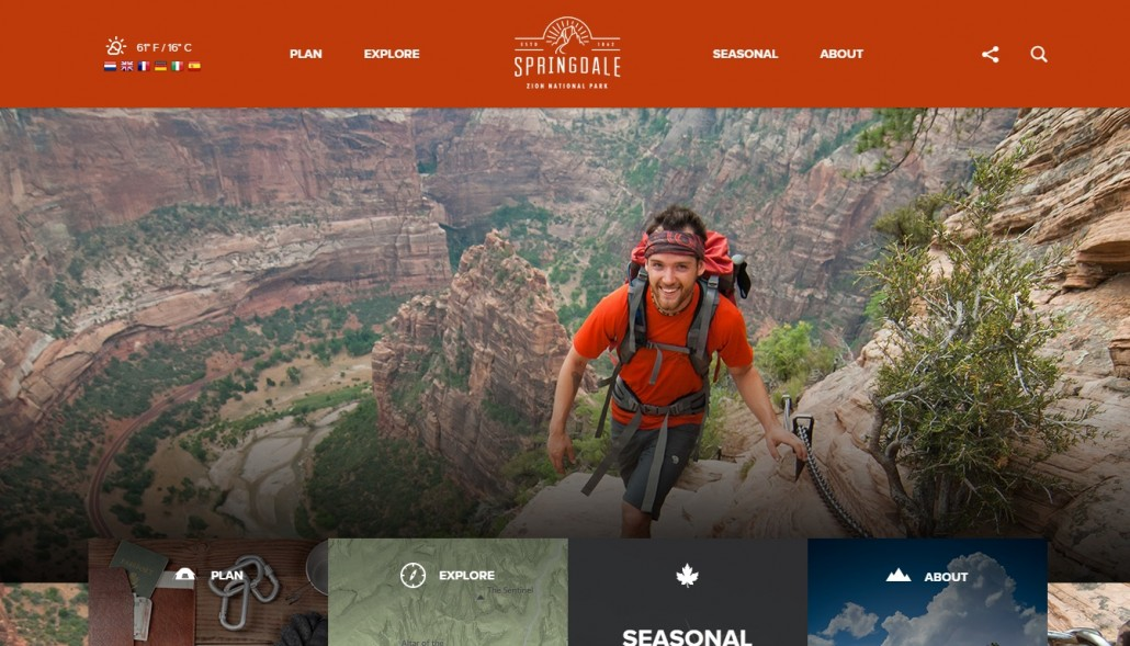 Zion National Park website usability